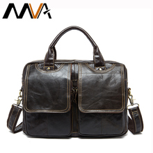MVA Genuine Leather Men's Briefcases men's leather bags Laptop bag 14inch bussiness Handbags Shoulder Bags Crossbody Bag 8002-1(China)