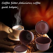 3pcs Reusable Coffee Capsules with Plastic Spoon with Cleaning Brush Refill Coffee Filter Baskets For Dolce Gusto Refill(China)
