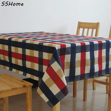 Yellow & Red & blue plaid design tablecloths Printed linen cotton table cloth Fabric tea tablecloth
