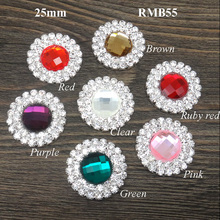 25mm High quality Clear Surrounding Rhinestones Flat Back Button glass center Double Rhinestone Embellishments 120pcs RMB055