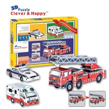 2014 new clever&happy land 3d puzzle model Emergency Rescue Cars adult puzzle diy paper model educational toys paper(China)