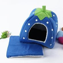 Goods For Pets Strawberry Design Dog House For Pet Cat Dog Indoor House Mat Kennel Nest Cage Dog Beds(China)