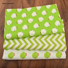 Nanchuang Cotton Fabric For Bag Doll Curtain Sewing DIY Handmade Quarter Hometextile Cloth Green Bird Series 40x50cm(China)