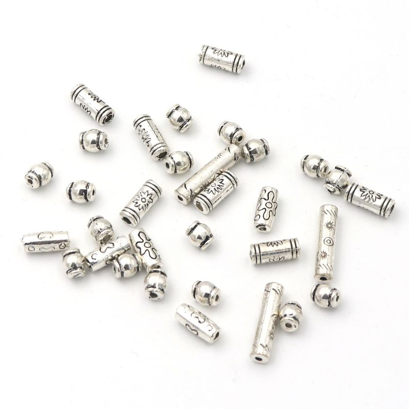 50pcs Tibetan Silver Gold Tone Tube big Spacer Beads Charms  //Beads 8mm