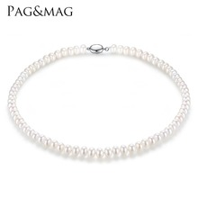 PAG&MAG Brand 7-8mm Natural Freshwater Pearl Necklace Single Necklace for Women High Brightness Pearl Beaded Chocker Wholesale(China)