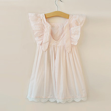 INS European Style Summer Cotton Lace Princess Flying Sleeve Cut Girls Dress Us Hot Sell Models(China)
