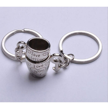 2017 hot selling Mini Couple forever love Coffee Cup Heart Engraved Key Chains Keyrings  Male Female Symbol Key Holder 1pair