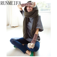 Thick And Soft Shawl Winter Warm Hooded Scarves And Mittens For Women many Colors