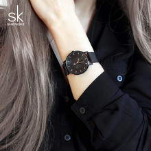 Shengke Black Fashion Women Watches Top Brand Luxury Ultra Thin Watch Ladies Quartz Wristwatch Relojes Mujer 2018 SK Women Clock