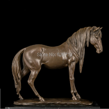 Classical Styles delicate polishing Antique cheval Brass Sculptures Standing Wild Horse Statue vintage home decor CZW-038