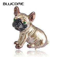 Blucome Cute Pug Dog Brooches Green Eyes Animal Corsage Pins Kids Girls Shirt Coat Clips Brooches Clothes Accessories Jewelry(China)