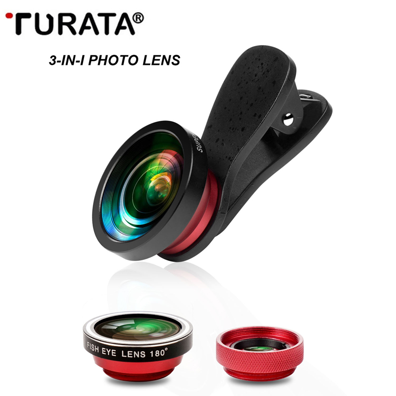 Turata 3 1 Mobile Phone Lens Kit 180 Degree Fisheye + 0.4X Wide Angle + 10X Macro Clip-on Fish Eye Lens iphone 7 6 6S T40