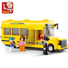 Building Block Set Compatible with lego Mini school bus traffic 3D Construction Brick Educational Hobbies Toys for Kids