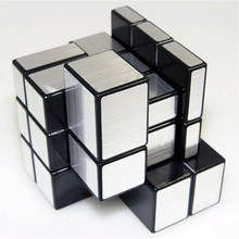 3x3x3 Wire Drawing Style Cast Coated Magic Cube Challenge Puzzle Sliver Mirror Cubes Educational Toys