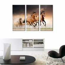 3 Pieces Wall Art Painting Running Wild Horse Brown Horses Galloping Paintings Prints On Canvas Animals Painting For Home Decor