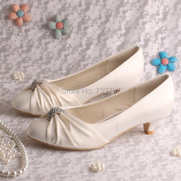 Wedopus Custom Handmade Cream Bridesmaid Shoes Low Heeled Pumps Closed Toe <br>