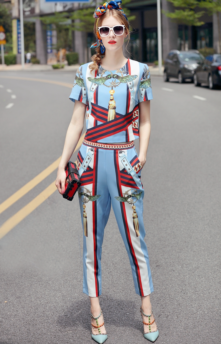 High Quality 17 European Designer Runway Suit Set Women's Two Piece Printing Short Tops + Mid-Calf Pants Set Free DHL Aramex 9