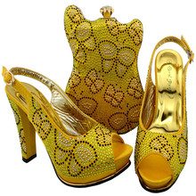 BCH-35 Nice Design Yellow Italian Shoes With Matching Bags Latest Rhinestone African Women Shoes and Bags Set For Sale