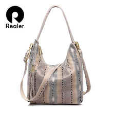 REALER brand women genuine leather shoulder bag female pearl fish pattern tote bag ladies double zippers handbag with tassel(China)