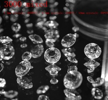 3000 Mixed(4.5mm  2600PCS / 6.5mm 350PCS / 10mm 50PCS) Only Clear Red Wedding Table Decor Diamond Crystal Confetti