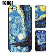 Hot Sale with famous artists paintings Starry Night - Van Gogh phone hard plastiv case Cover for iPhone 5 5s se 5c 6 6s 7 7plus(China)