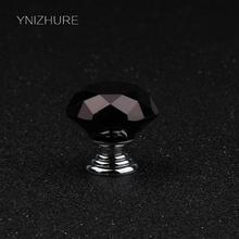 30mm Specifications Black Luxury K9 Crystal Furniture Drawer Handle Cabinet Doors and Windows Hardware knob Accessories 10 sales(China)