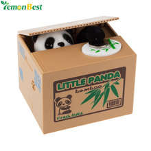 Cute Automatic Stole Coin Piggy Bank Panda Yellow / White Cat Money Box 11.5x9.5x9cm Money Saving Box Moneybox Gifts For Kids(China)