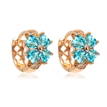 Lucky Four Leaf Clover Heart Cut   Blue Crystal Gold Color Small Hoop Earrings For Girls Child Baby Kids Jewelry