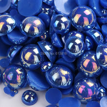 1000pcs/lot Mix 2-10mm AB Navy Blue Resin ABS Imitation Pearls Half Round Designed Flat Back Cabochon Pearls For DIY Decoration