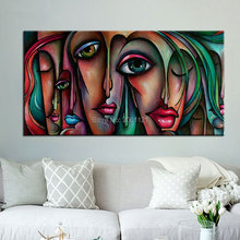 Handmade Picasso style oil paintings big eye girls canvas art modern abstract woman figures wall pictures for living room decor(China)