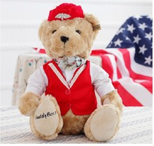 The lovely British style bear doll teddy bear red cloth flight attendant bear plush toy doll birthday gift about 24cm(China)
