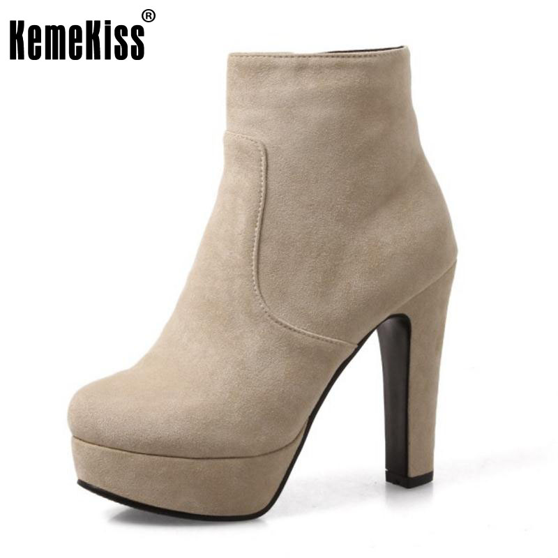 KemeKiss Size 33-43 Ladies  High Heels Mid Calf  Boots Women Thick Platform Side Zip Shoes Women Winter Warm Botas Footwear<br>