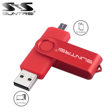 Suntrsi OTG USB Flash Drive 4/8/16/32/64gb Metal Swivel pen drive for Smart Phone Pen Drive usb flash Full Capacity fee shipping(China)