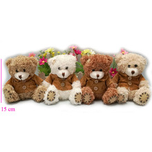 wholesale 15CM mini teddy bear plush toy Christmas gifts 12pcs/lot High quality 4 colors to choose
