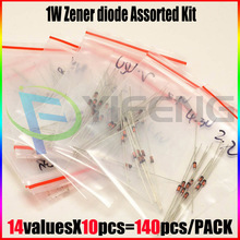 1W Zener diode,14valuesX10pcs=140pcs,Electronic Components Package,Zener diode Assorted Kit