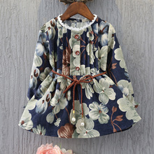 2018 spring clothes for baby girls long sleeve party dress 2-8 years a-line floral print navy blue children girl toddler dresses(China)
