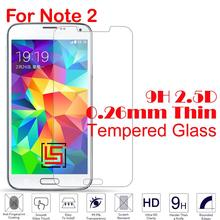 Explosion Proof 0.26mm 2.5D 9H Hardness Tempered Glass Verre Phone Cell Front Film Screen Protector For Samsung Galaxy Note 2