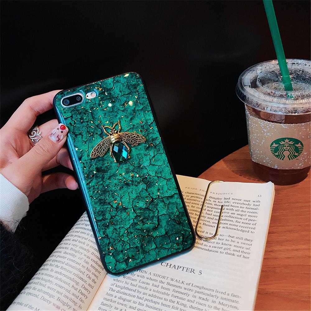 Luxury Green Diamond Crack Marble Phone Case For iphone 7 8 6 6s Plus Bee With Wing Funda cover for iphone XS MAX XR X back   (8)