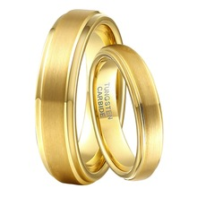 1 Pair 6mm & 4mm Boy & Girls Marriage Rings Set Gold Color Tungsten Carbide Wedding Engagement Band for Male Female