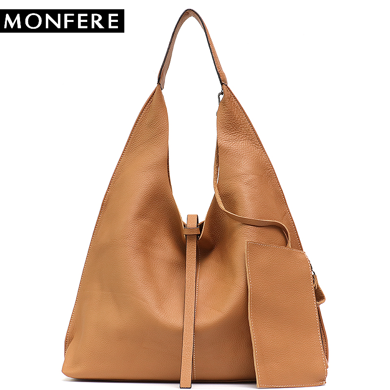 MONFE Genuine Leather Hobo Bags Women Casual Large Tote String Cowhide Shoulder Bags High Brand Handbag Coin Purse Liner