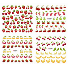 1sheets Summer Styles Nail Art Water Stickers Fruit Apple Watermelon Printing Decals Full Decorations Nail Art Tools C036-047(China)