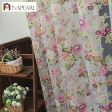 Floral design washable tulle curtain fabrics beautiful sheer panel American country style window curtain for balcony or kitchen(China)