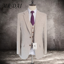 MD-008 Wool Light colored tweed custom made Groom Tuxedos mens 3 piece suits slim fit tailor made wedding suits for men(China)