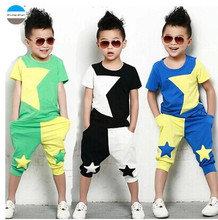 2017 summer 3 - 8 years old baby boys clothes fashion kids clothing set coat + pants high quality short children garment t-shirt