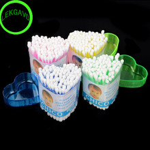 BestP 100pcs/box Cotton swab Heart shape Health care cotton tipped heart box makeup tools color small boxed cosmetic cotton buds(China)
