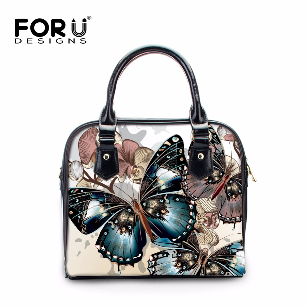 Pretty Printing Butterfly Handbag for Women Personalized College Teen Girls Tote Bag with Shoulder Strap Casual Crossbody Bag<br>