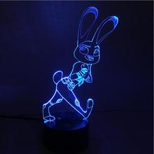 RGB Crazy animal City rabbit 3D Light wedding decoration luminaria visual illusion LED lamp action figure toy New Year gift