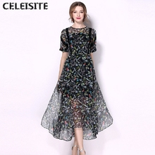 CELEISITE European New Fashion Summer Printed Silk Magpies Dresses Elegant Mulberry Silk Short Sleeve Leaf Dress C139