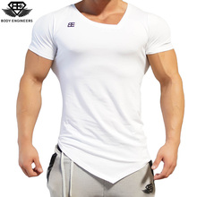 Body engineers 2017 fashion men summer quick drying V-neck short sleeve men's gyms stretch bodybuilding fitness casual T-shirt(China)