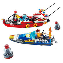 KAZI Fire Fighting Series Sprinkler Fireboat Action Model Building Block Set 2017 Classic Educational Toys For Children Gifts(China)
